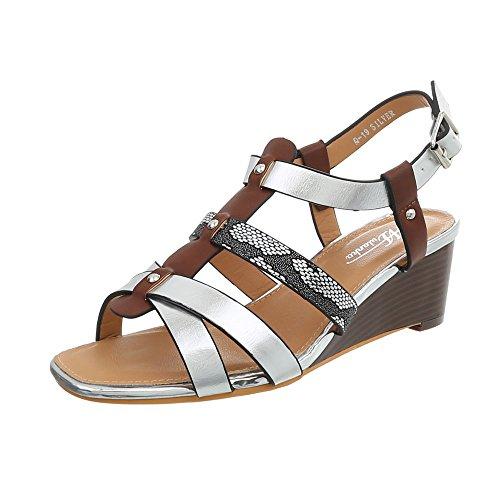 Ital-Design Keilsandaletten Damen-Schuhe Keilabsatz/Wedge Keilabsatz Schnalle Sandalen & Sandaletten Silber Multi, Gr 41, Q-19- -