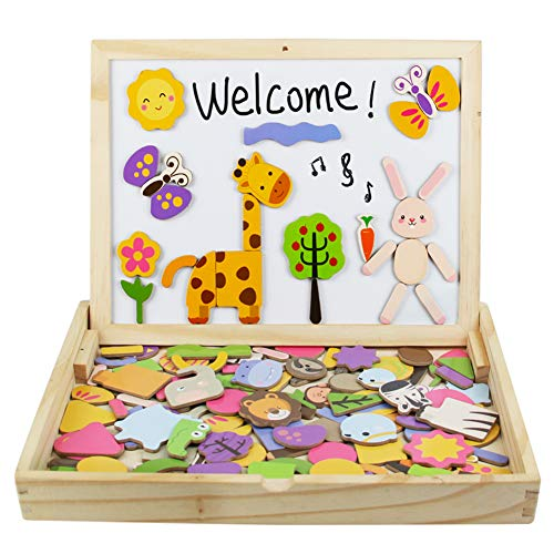 Yoptote puzzle magnetico legno giocattolo di legno giochi montessori bambini con lavagna magnetica 123pcs double side per bambini 3 anni 4 anni 5 anni