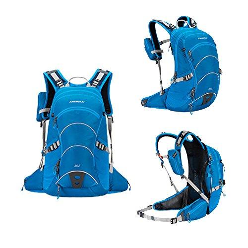 Fahrradrucksack mit Regenschutz, 20L Nylon Leicht Fahrrad Rucksack mit Helmhalterung für Radsport Camping Wandern Reisen, Abnehmbare Tasche für Handy Blau