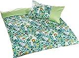 Bettwaesche-mit-Stil Mako Satin Kinderbettwäsche Dschungel Faultier AFFE Löwe (Grün, 135x200 + 80x80 cm) 100% Baumwolle
