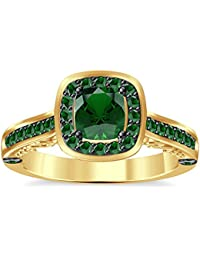 Silvernshine 2Ct Asscher Cut Green Garnet CZ Dimoands 14K Yellow Gold PL Engagement & Wedding Ring