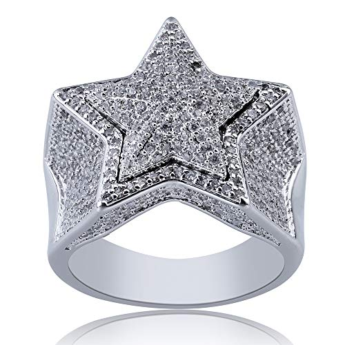 Junmei Herrenstern Ring Iced Out CZ simuliert Zirkon Diamant Hip Hop Bling Ring