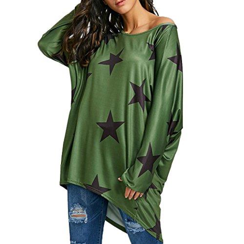 Damen Langarm T-Shirt Damen Langarmshirts Schulterfrei Shirts Elegante Mode Oberteile Lose Asymmetrisch Jumper Sweatshirt Pullover Bluse Frauen Mädchen Strapless Stern Bluseshirts (Green, M) (Grüne Knopf-front-shirt)
