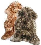 Zaloop Merino Schaffell Lammfell geflammt stracciatella ökologische Gerbung versch. Größen (dunkel geflammt, ca. 100-110 cm)