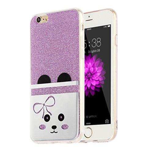 "MOONCASE iPhone 6 Plus Coque, Bling Glitter Motif Etui TPU Silicone Antichoc Housse Case pour iPhone 6 Plus / iPhone 6s Plus (5.5"") (Chat - Or) Chat - Violet"