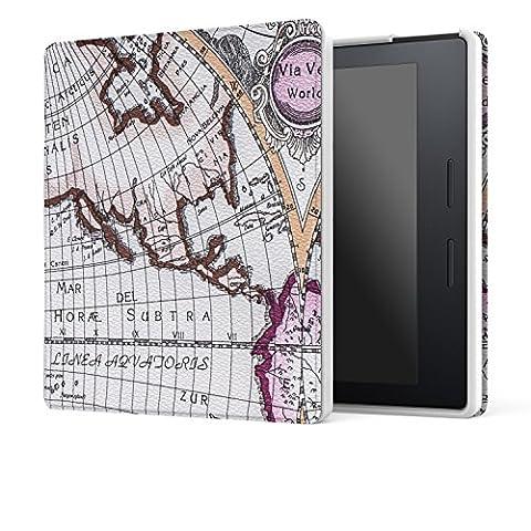 MoKo Kindle Oasis Hülle - Ultra Slim Lightweight Kunstleder Schutzhülle Smart Cover mit auto Sleep / Wake Funktion für Der neue Kindle Oasis 15 cm (6 Zoll) Display (300 ppi), Map A