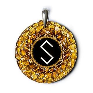 grass-snake–Bernstein Amulett mit Pagan Alten Baltischen Zeichen für Geist, Liebe, Energie und Gesundheit. Handgefertigt Halskette–Spirituelle New Age Pagan Baltischer