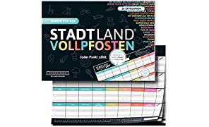 DENKRIESEN- Stadt Land Junior Edition-Gioco da Tavolo con Pali integrati, Formato DIN A4, DEN09010