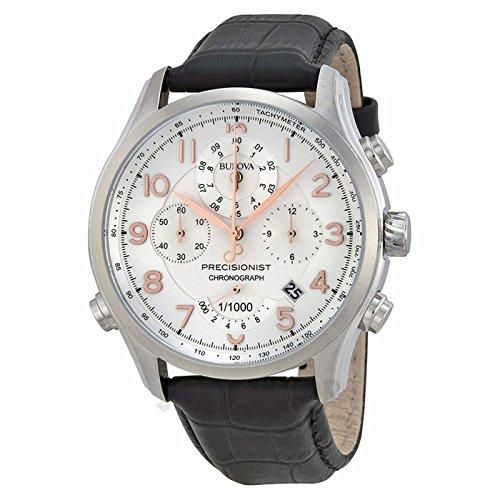 Bulova Bulova Precisionist Cronografo Bianco Quadrante Nero cinghia Mens Orologio 96B182