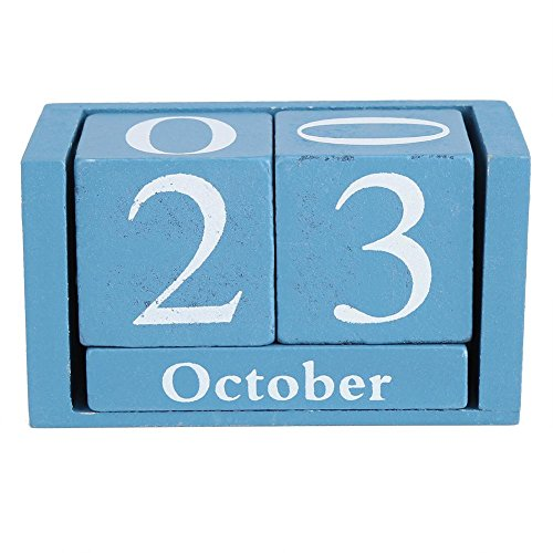 Holzblock Kalender, Klassische hölzerne Kalender stilvolle Desktop Holzblock Zeit Home Office Dekoration Freunde Geschenke(Schwarz)
