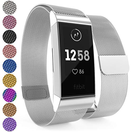 Yousave Accessories® Fitbit Charge 3 Armband, Milanaise Armband, Edelstahl Sport Ersatzarmband für Fitbit Charge 3 Fitness Tracker, Fitbit Charge3 Armbänder - Silber (Band Xl Fitbit)