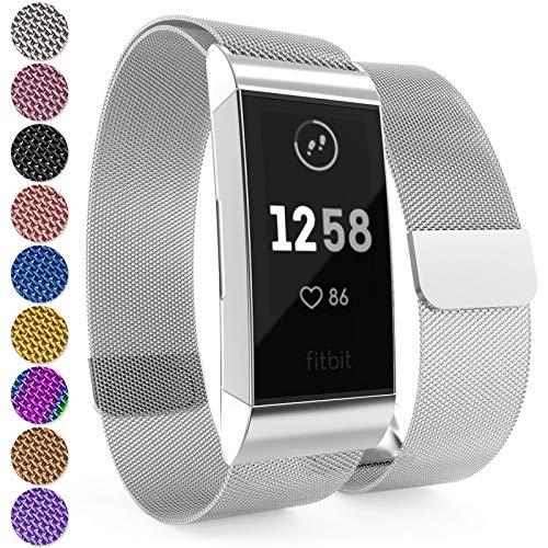 Yousave Accessories® Fitbit Charge 3 Armband, Milanaise Armband, Edelstahl Sport Ersatzarmband für Fitbit Charge 3 Fitness Tracker, Fitbit Charge3 Armbänder - Silber