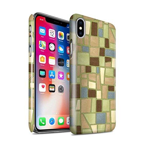STUFF4 Glanz Snap-On Hülle / Case für Apple iPhone X/10 / Braun/Rot Muster / Mosaik Fliese Kollektion Grün/Braun