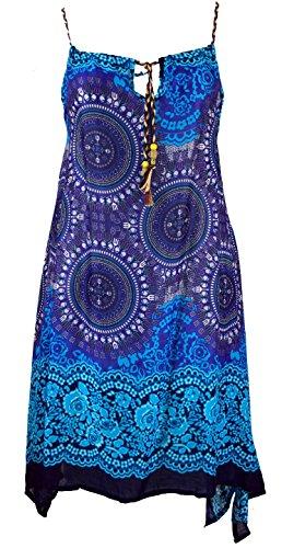 Guru-Shop Boho Dashiki Midikleid, Trägerkleid, Strandkleid für Starke Frauen, Damen, Türkis/blau, Synthetisch, Size:One Size, Lange & Midi Kleider Alternative Bekleidung