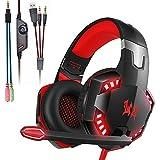 Mengshen Gaming-Headset - Mit Mikrofon, LautstäRkeregler Und Coolen LED-Leuchten - Kompatibel Mit PC, Laptop, Smartphone, PS4 Und Xbox One Controller, G2000 Red