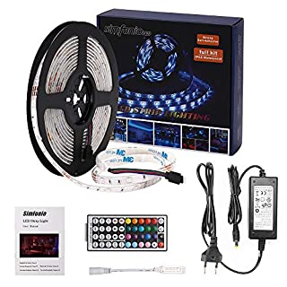 Simfonio LED Strip 5m - LED Stripes 5m Wasserdicht 5050SMD 150 LED RGB Strip Full Kit - LED Streifen mit RF Mini Controller und Netzteil