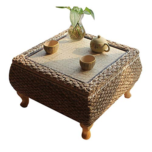 Tables De Lit Tatami Basse Basse Maison Main Rotin Bois Baie Vitrée Balcon Basse Lit D'étude (Color : Blanc, Size : 50 * 50 * 30cm)
