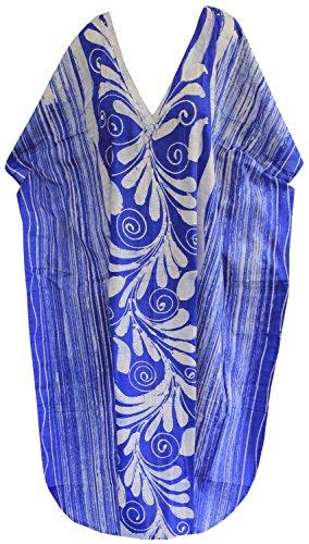 La Leela batik 100% de femmes habillées salon de coton caftan coverup plage ainsi kaftan maillot de bain Bleu