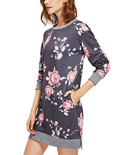 BIUBIU Damen Blume Sweatshirts Kleid Langarm Pullover Kapuzenkleid Sweat Kleid Mit Taschen Grau