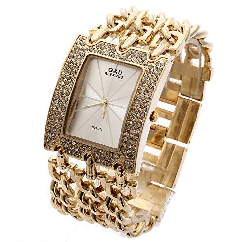 XLORDX Damen Uhr Gold Strass Metall Edelstahl Armbanduhr gebraucht kaufen  Wird an jeden Ort in Deutschland