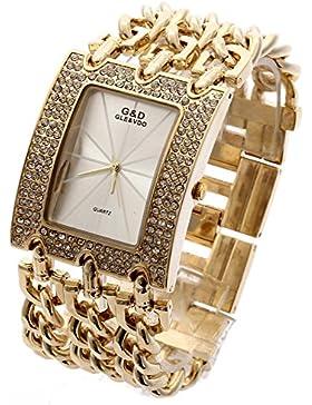 XLORDX Damen Uhr Gold Strass Metall Edelstahl Armbanduhr Quartz Armreif Analog Ketteuhr Weiss