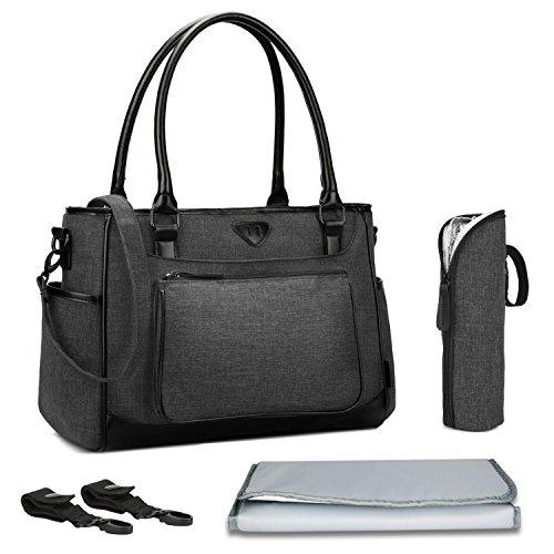 Baby Wickeltasche, BRINCH Multifunktion Baby Windel Umhängetasche tragbare Einkaufstasche mit Wickelunterlage, Isolierte Tasche, Kinderwagenbefestigungen, Schwarz