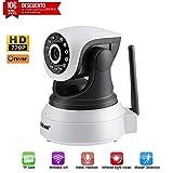 LESHP IP WiFi P2P Cámara Video Vigilancia IR Vision nocturna HD 720P con Micrófono y altavoz, Detección de movimiento-sonido, compatible con iOS, Android
