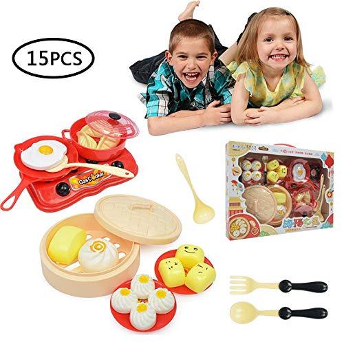 FOONEE Spielen Sie Töpfe Und Pfannen Spielzeug Für Kinder, 15-teiliges Küchenspielset Pretend Cookware Mini Cooking Utensils Entwicklungsspielzeug Für Kleinkinder & Kinder Ab 3 Jahren