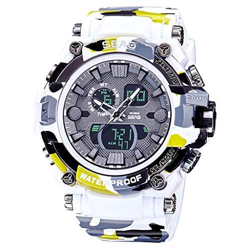A-Artist Herren Uhren Chronograph Multifunktional Militärische Taillenuh Quarzuhr klassisches Einfaches Design mit Datum Anzeige und Blau Milanese Mesh Band & Lederarmband
