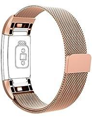 Vancle Milaneseband für Fitbit Charge 2, Fitbit Charge 2 Anpassbares Edelstahl- Metallmilanese Ersatzarmband mit Magnetverschluss