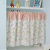 HongYa Kleinfenster Küche Gardine Scheibengardine Tunnelzug Cafe Vorhang mit Schmetterlinge und Streifenmuster H/B 60/140 cm Rosa