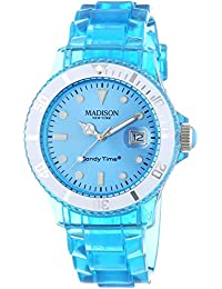 MADISON NEW YORK - U4631-06/1 - Montre Mixte - Quartz Analogique - Bracelet Plastique Bleu