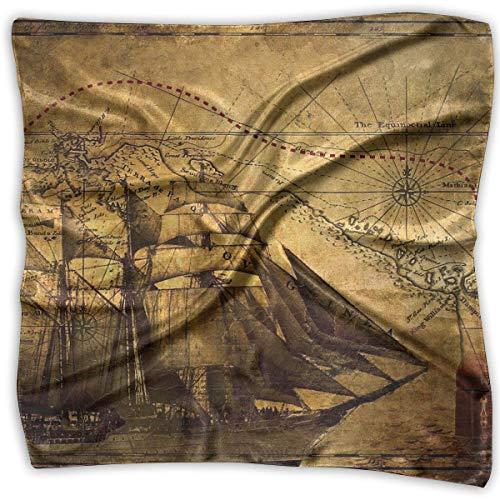 Hoklcvd Retro Treasure Map Women's Large Square Satin Head Bandanas Silk Like Neck Scarf -