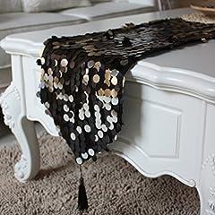 Idea Regalo - Black light tavolino tovaglia paillettes caffè tavolo tovaglia Elegante-A 30x220cm(12x87inch)