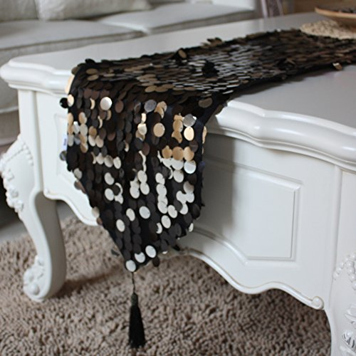 Tischdecken für Wohn/Black Light Tisch Tischdecke/Pailletten Kaffee Tisch Tischdecke/Elegant 30x220cm(12x87inch) A (Wrestling-kaffee)