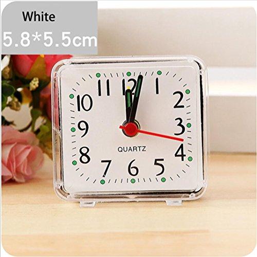 erthome Wecker Quadrat Kleines Bett Compact Travel Quarz Beep tragbare Uhr (Weiß)