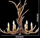 Effortinc Vintage Chandelier Deer Horn Resin 6 Lights