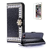 For Huawei P9 Lite 2017 Cover [with Free Screen Protector],Funyye Premium Luxury Elegance [Diamond Pearl] Embedded Vintage charming Wallet lovely sparkly Case [Credit Card Holder Slots] Stand Function Book Type Durable PU Leather Shell for Huawei P9 Lite
