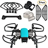KUUQA 5 Pcs Accessory Kits for Dji Spark, Including Propeller Prop Guard with Foldable Landing Gear extender, Gimbal Camera Guard, Lens Hood, Finger Guard Board, Controller Stick Thumb Protective