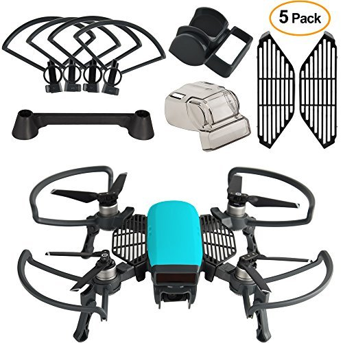 Kuuqa Accessory kits for Dji Spark, including 2 in 1 Helix Guard with collapsible landing gear, Gimbal Camera Guard, Lens Hood, Finger Card, Joystick Protector (Dji Spark not included)