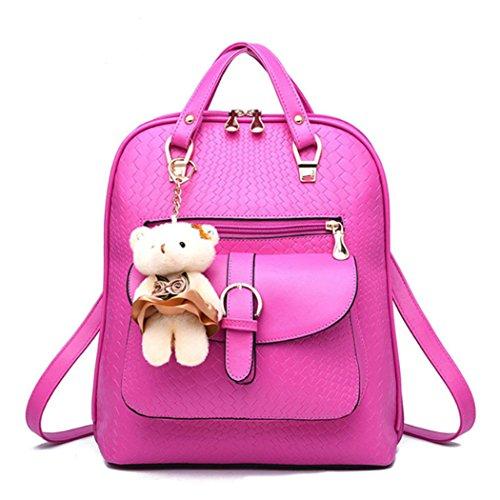 Il sacchetto di spalla dello zaino della scuola dello scamosciato della scuola del cuoio del Faux della ragazza delle donne di modo sceglie il grano e l'orso bello Rosé