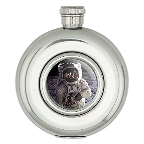 Round Stainless Steel 5oz Hip Flask Space and Aliens - Apollo 11 Moon Landing Astronaut Space