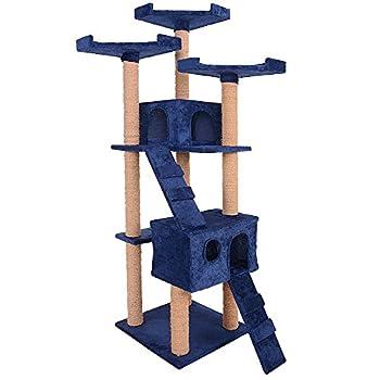 Leopet - Griffoir à chat Montage rapide Arbre à chat 173 cm Arbre de jeu pour chat Griffoir-grattoir à chat Meuble pour chat - Bleu