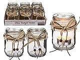 MC Trend Glas-Teelichthalter mit naturfarbenem Schleifenband, verziert mit Stern und Tannenbaum, Natural Style, Windlicht Deko Weihnachten (6er Set / 2-Fach Sortiert)