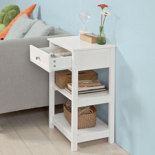 SoBuy® FBT46-W Beistelltisch Nachttisch Couchtisch in weiß mit einer Schublade und 2 Ablagen BHT ca: 45x68x30cm - 9