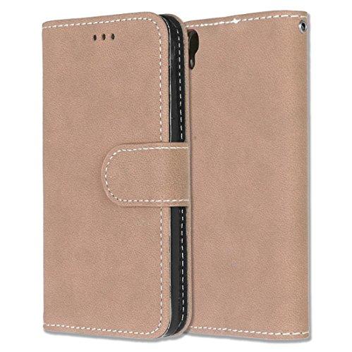 Alcatel One Touch Idol 3 (4.7) Hülle, Chreey Matt Leder Tasche Retro Handyhülle Magnet Flip Case mit Kartenfach Geldbörse Schutzhülle Etui [Khaki]