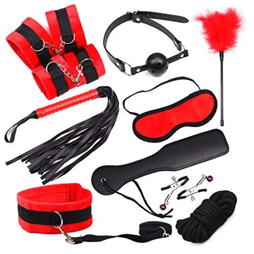 Kiddie Kostüm - SLH Plüsch-Set mit 10 Bündeln Double Lock Steel Police Edition Professionelle Handschellen Interessante Partyartikel/Bühne oder Kostüm Flexible Kiddie-Handschellen (Color : Red)