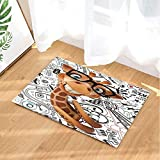 FEIYANG Kinder lieben Tiere Dekor Cartoon Phantasie Giraffe mit Brille Bad Teppiche Rutschfeste Fußmatte Boden Eingänge Indoor Haustürmatte Kinder Bad Matte 60X40cm Bad-Accessoires