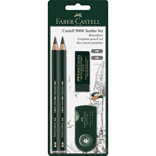 Faber-Castell 119398 - Bleistiftset Castell 9000 Jumbo, grün