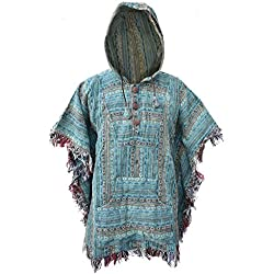 Little Kathmandu - Poncho de estilo Hippie con capucha, de algodón multicolor G Talla única